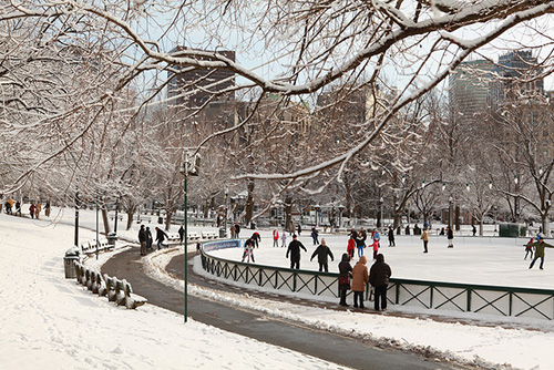 Ice skating on Frog Pond; Photo credit: Massachusetts Office of Travel and Tourism