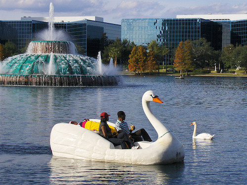 Lake Eola's swan boats combine sightseeing with exercise. Credit Joe Shlabotnik.