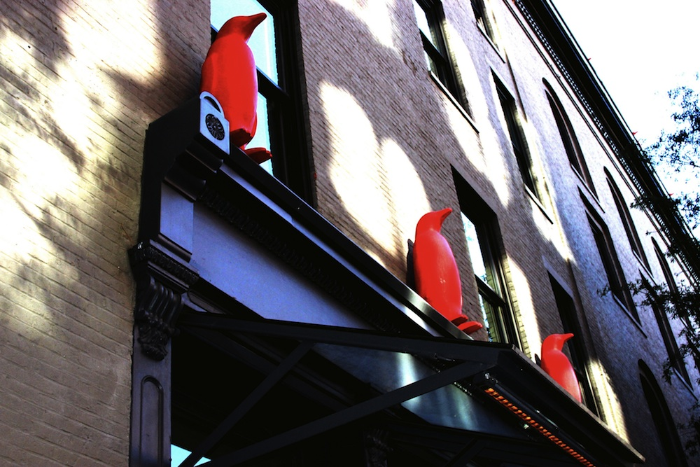 Red penguins adorn the outside of the 21C Hotel Museum in Louisville. Courtesy of LuAnn Snawder Photography.
