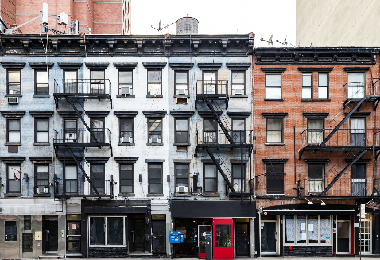 Block of buildings along 3rd Avenue in the East Village neighborhood of Manhattan in New York City NYC
