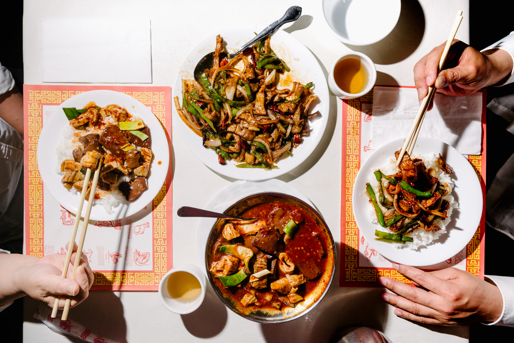 Stock photo of more adventurous style of traditional Chinese food shot inside of a Chinese restaurant in the USA.
