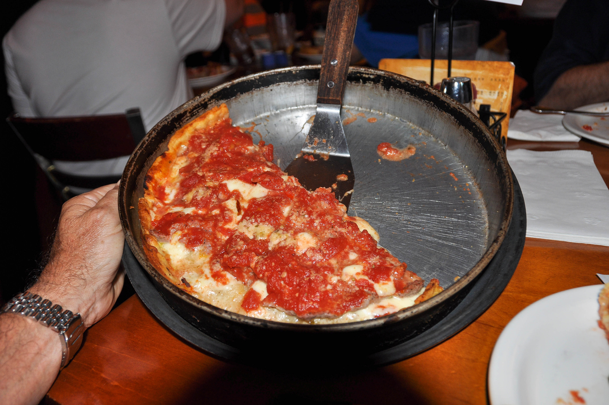 View of a Chicago-Style Deep Dish Pizza